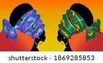 portrait beautiful afro woman.... | Shutterstock .eps vector #1869285853