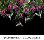 border with hummingbirds and... | Shutterstock .eps vector #1869289216
