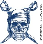Blue Pirate Skull With Two...