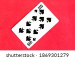 Ten of spades playing card  red ...