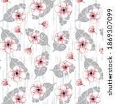 floral pattern on tropical... | Shutterstock .eps vector #1869307099