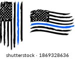 thin blue line. flag with... | Shutterstock .eps vector #1869328636