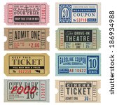 vintage theater tickets  ... | Shutterstock .eps vector #186934988