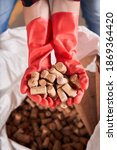 Small photo of Close up view of the worker in red latex gloves holding brown balsa corks before the placing it in the bag. Recycling and waste sorting concept