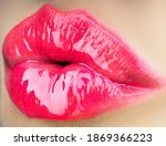 Textures Lips. Close Up...