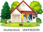 many clothes hanging on a line...   Shutterstock .eps vector #1869382030