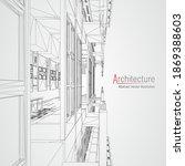 architecture line background.... | Shutterstock .eps vector #1869388603