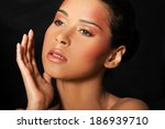attractive woman's face with... | Shutterstock . vector #186939710