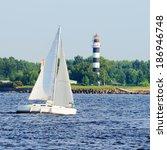 white sail yacht sailing. riga  ... | Shutterstock . vector #186946748
