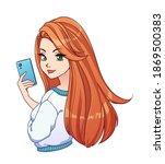 Pretty Cartoon Girl With Long...