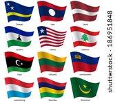 set  flags of world sovereign... | Shutterstock .eps vector #186951848