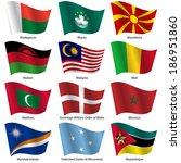 set  flags of world sovereign... | Shutterstock .eps vector #186951860