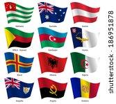 set  flags of world sovereign... | Shutterstock .eps vector #186951878