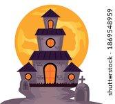 halloween haunted castle... | Shutterstock .eps vector #1869548959