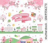 clipart of the spring cityscape ... | Shutterstock .eps vector #1869556273