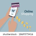 payment by credit card over a...   Shutterstock .eps vector #1869575416