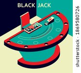 casino black jack table in... | Shutterstock .eps vector #1869580726