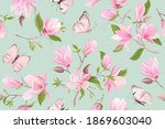 watercolor magnolia floral... | Shutterstock .eps vector #1869603040