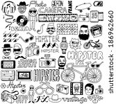 Hipster doodle mega set. Vector illustration.