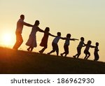concept of silhouettes on... | Shutterstock . vector #186962930