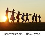 concept of silhouettes on... | Shutterstock . vector #186962966