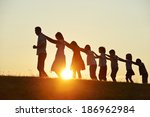 concept of silhouettes on... | Shutterstock . vector #186962984