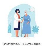 doctor in clinic giving... | Shutterstock .eps vector #1869635086