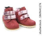 Pair Of Leather Baby Girls Red...