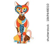 colorful cat illustration. flat ...   Shutterstock .eps vector #1869648010