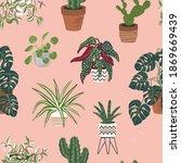 house plants seamless pattern.... | Shutterstock .eps vector #1869669439