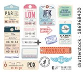 vintage luggage tags | Shutterstock .eps vector #186968420