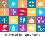 white vector summer icons... | Shutterstock .eps vector #186975548