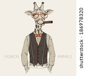 fashion illustration of giraffe ... | Shutterstock .eps vector #186978320