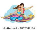 east princess and aladdin on... | Shutterstock .eps vector #1869802186