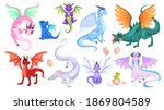 fairy dragons. fantasy colorful ... | Shutterstock .eps vector #1869804589