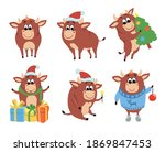 color bulls chinese new year... | Shutterstock .eps vector #1869847453