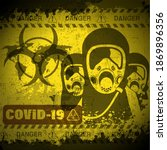 pandemic poster on covid 19... | Shutterstock .eps vector #1869896356
