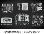 retro coffee  labels and... | Shutterstock . vector #186991070