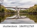 Summer Changes To Fall over the Mendota Bridge Spanning the Seasonally Low Waters of the Minnesota River in Mendota Heights