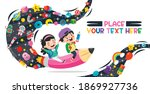 funny kid flying on colorful... | Shutterstock .eps vector #1869927736