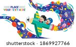 funny kid flying on colorful... | Shutterstock .eps vector #1869927766