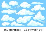 white clouds set. blue cloudy...   Shutterstock .eps vector #1869945499