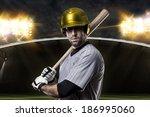 baseball player on a yellow... | Shutterstock . vector #186995060