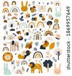 abstract doodles. baby animals...   Shutterstock .eps vector #1869957649