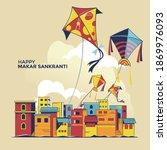 children fly kites for the... | Shutterstock .eps vector #1869976093