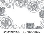 hand drawn asian noodle soup.... | Shutterstock .eps vector #1870009039