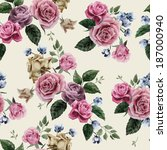 seamless floral pattern with of ... | Shutterstock .eps vector #187000940