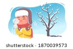 kid shivering in chilling cold... | Shutterstock .eps vector #1870039573