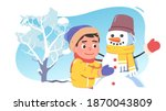 kid boy playing outside making... | Shutterstock .eps vector #1870043809