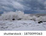 Sea Storm. Italy. Muddy Water....